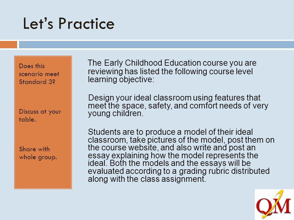 Let's Practice Does this scenario meet Standard 3 Discuss at your table. Share with whole group.