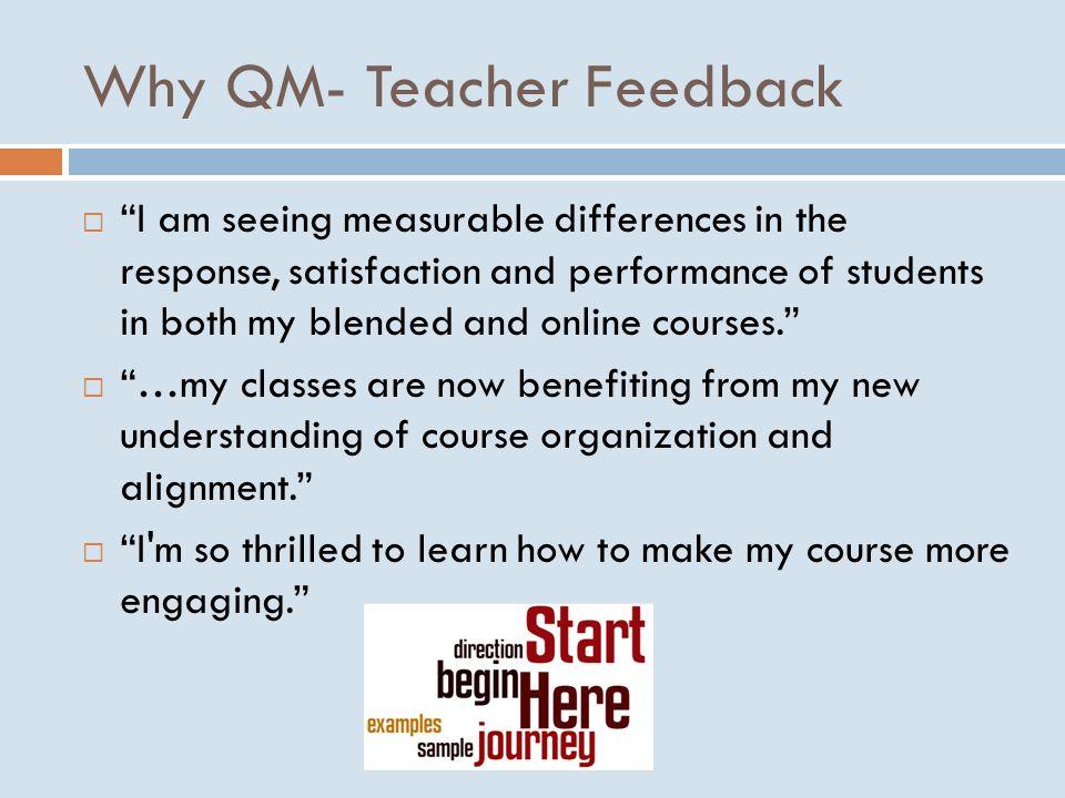 Why QM- Teacher Feedback