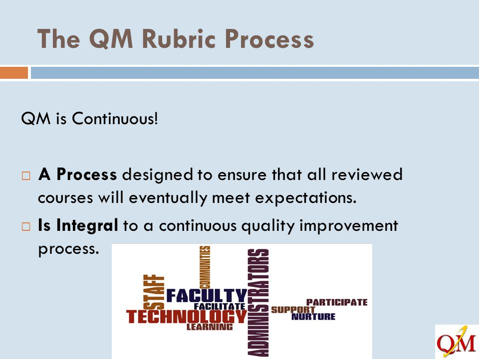 The QM Rubric Process QM is Continuous!