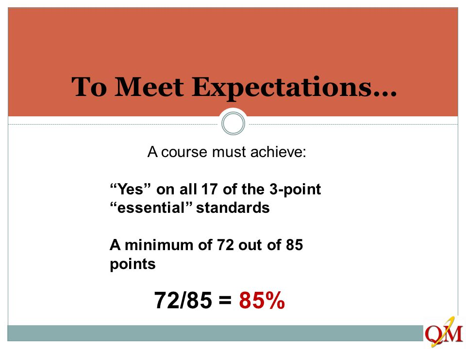 To Meet Expectations… 72/85 = 85% A course must achieve:
