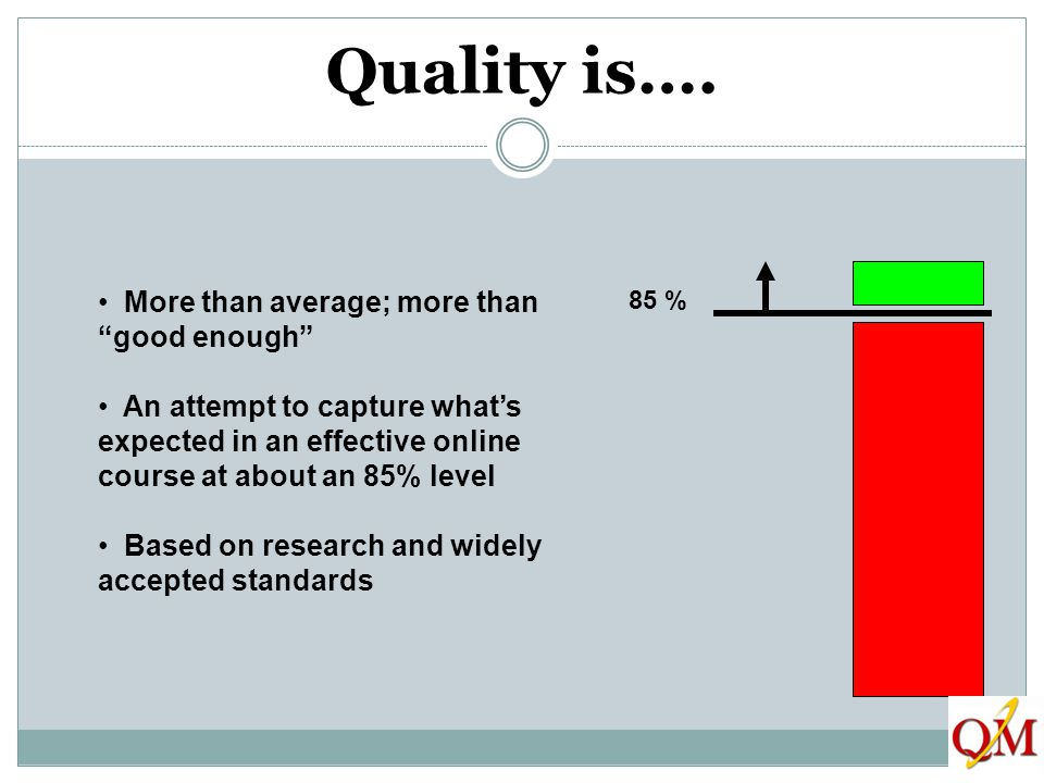 Quality is…. More than average; more than good enough