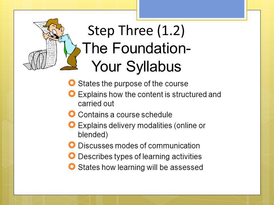 Step Three (1.2) The Foundation- Your Syllabus