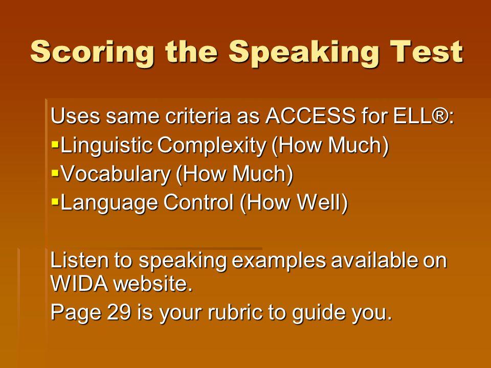 Scoring the Speaking Test