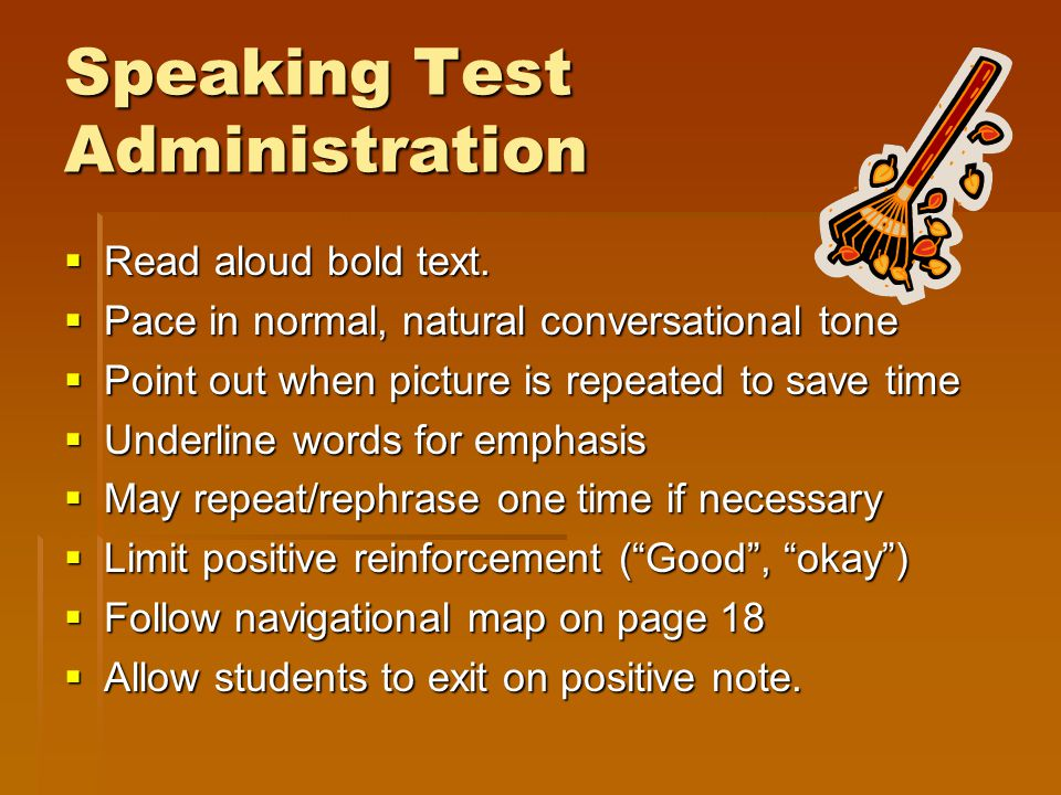 Speaking Test Administration