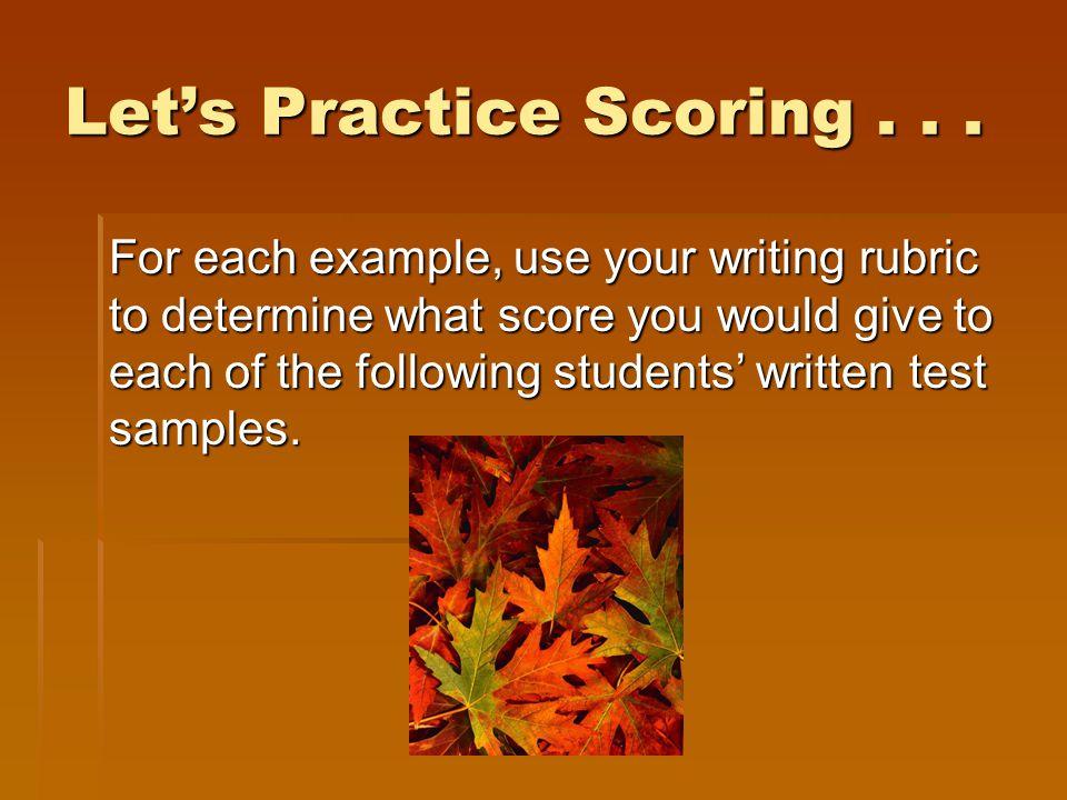 Let's Practice Scoring . . .