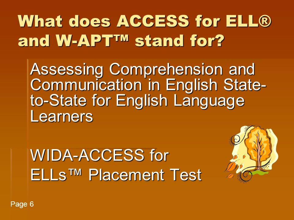 What does ACCESS for ELL® and W-APT™ stand for