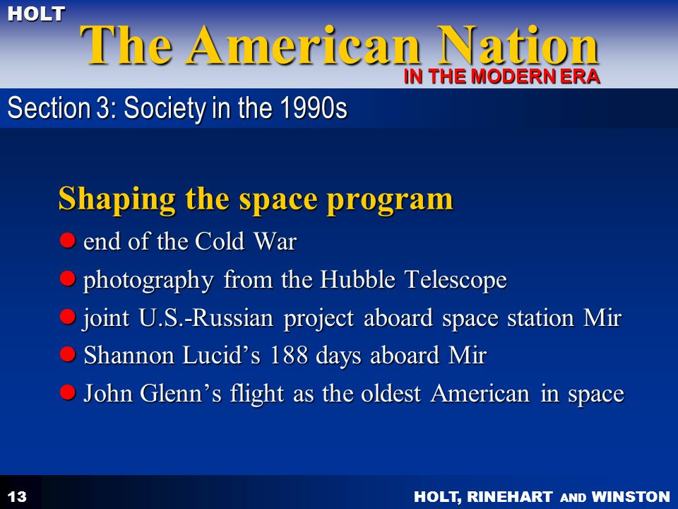 Shaping the space program