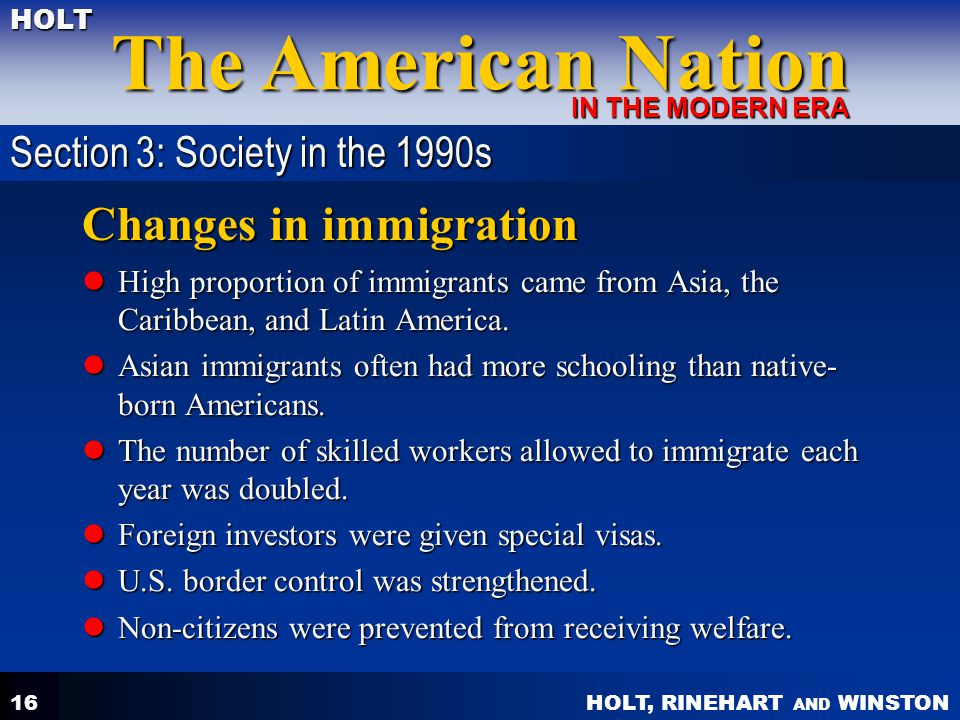Changes in immigration
