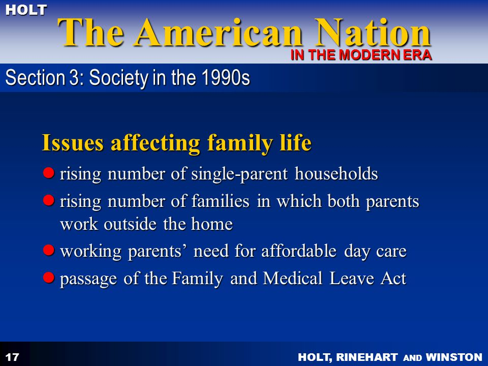 Issues affecting family life