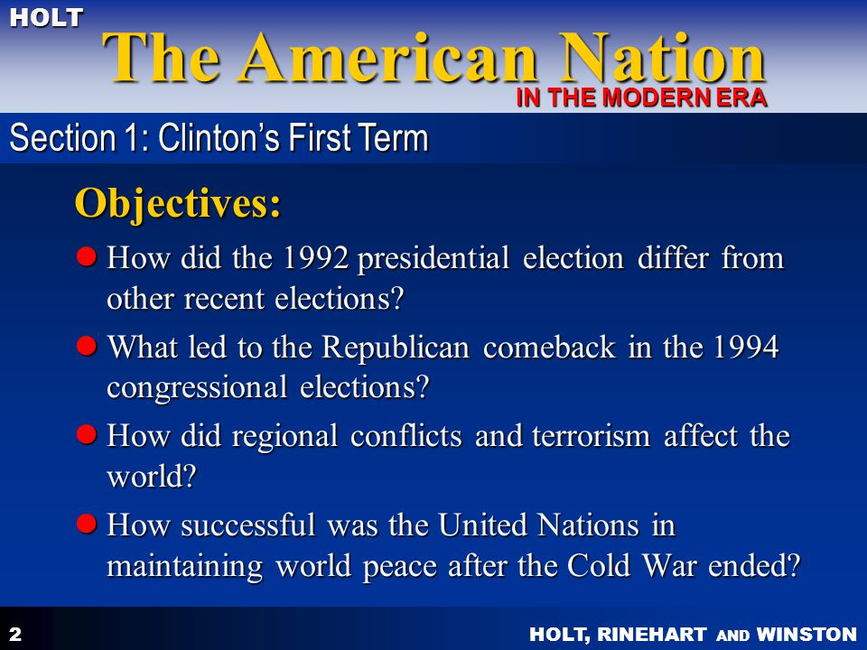 Objectives: Section 1: Clinton's First Term