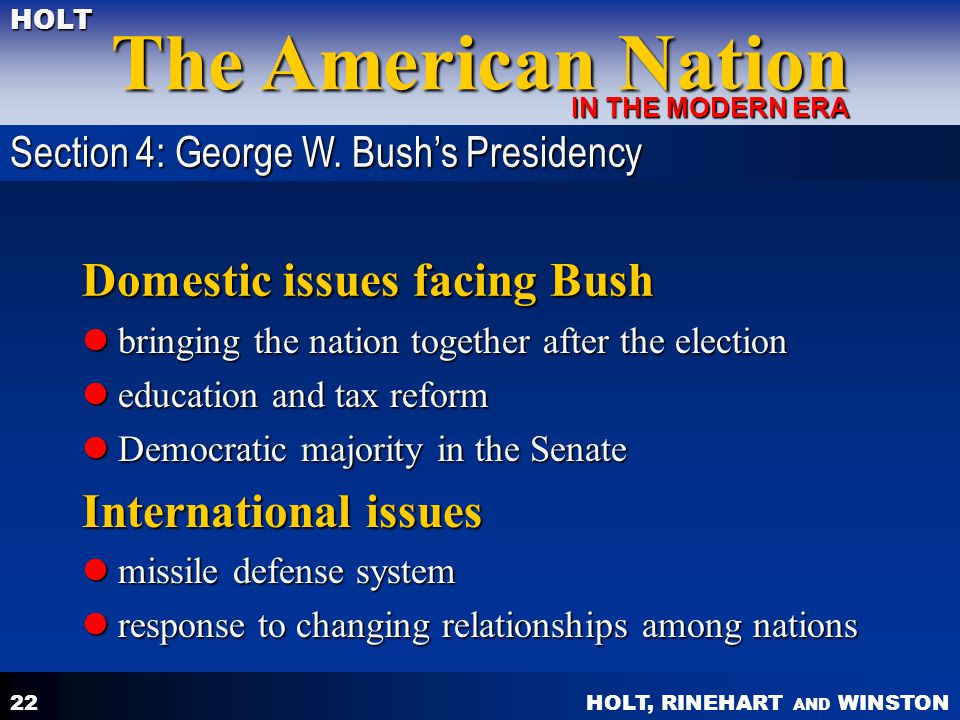 Domestic issues facing Bush