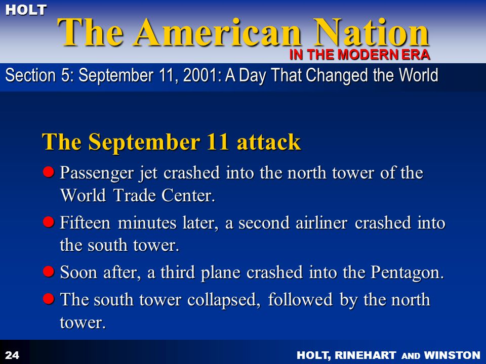 Section 5: September 11, 2001: A Day That Changed the World