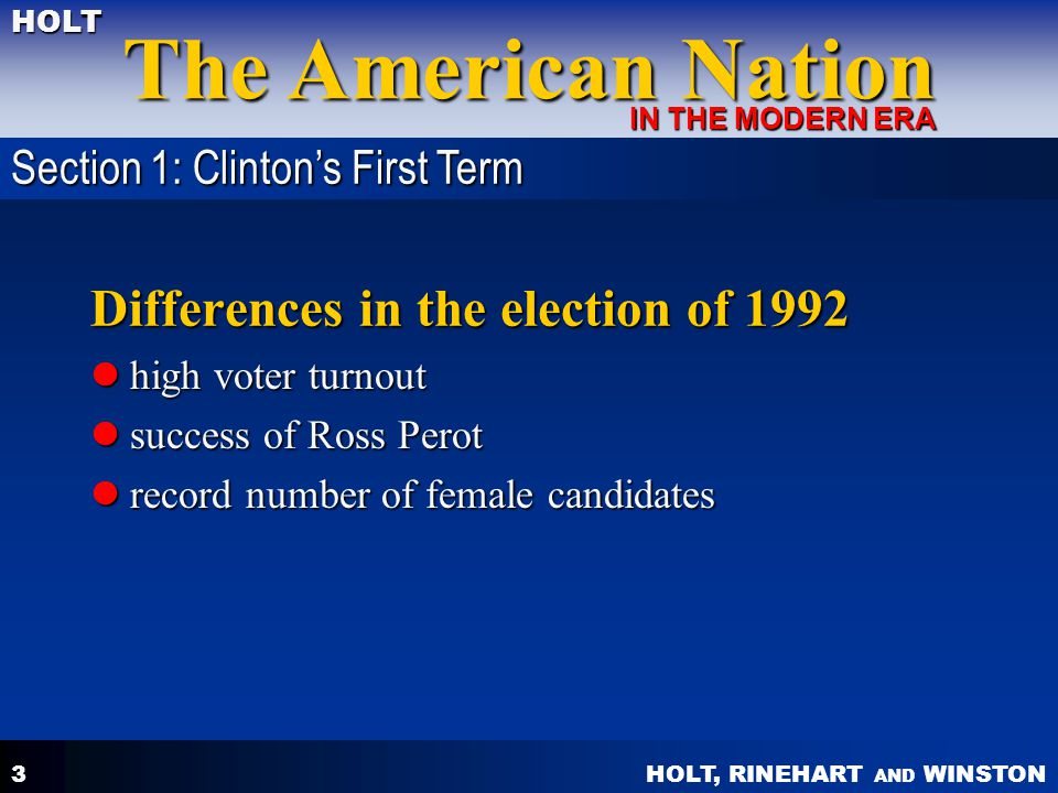 Differences in the election of 1992
