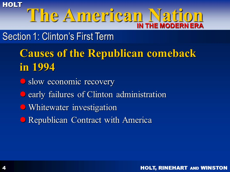 Causes of the Republican comeback in 1994