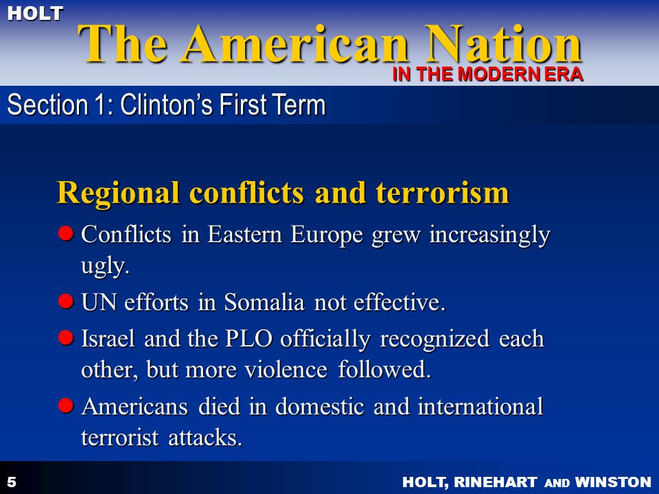 Regional conflicts and terrorism