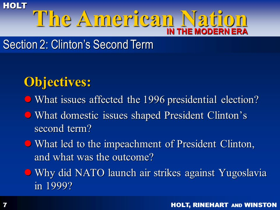 Objectives: Section 2: Clinton's Second Term