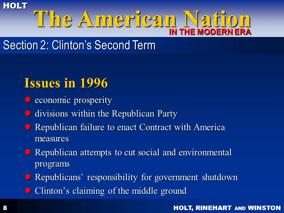 Issues in 1996 Section 2: Clinton's Second Term economic prosperity