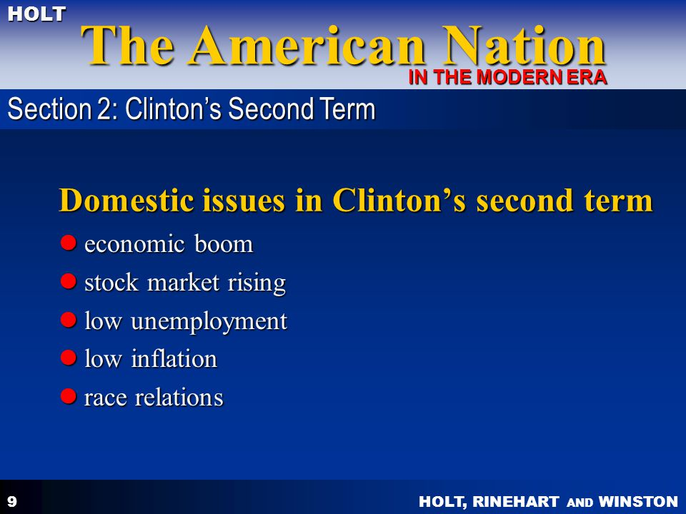 Domestic issues in Clinton's second term