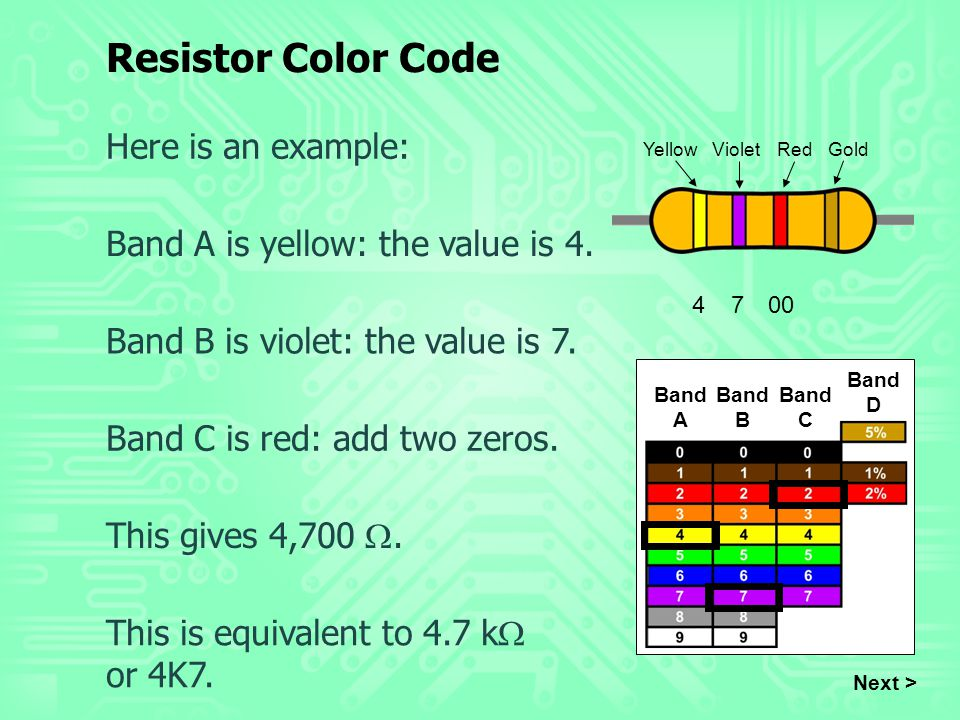 Resistor Color Code Here is an example: