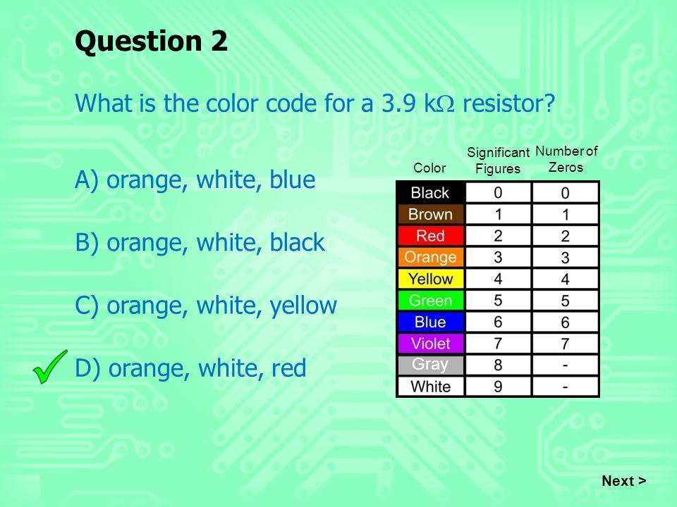 Question 2 What is the color code for a 3.9 kW resistor