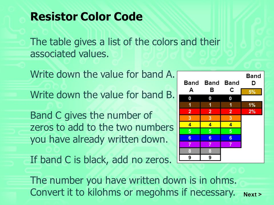 Resistor Color Code The table gives a list of the colors and their associated values. Write down the value for band A.