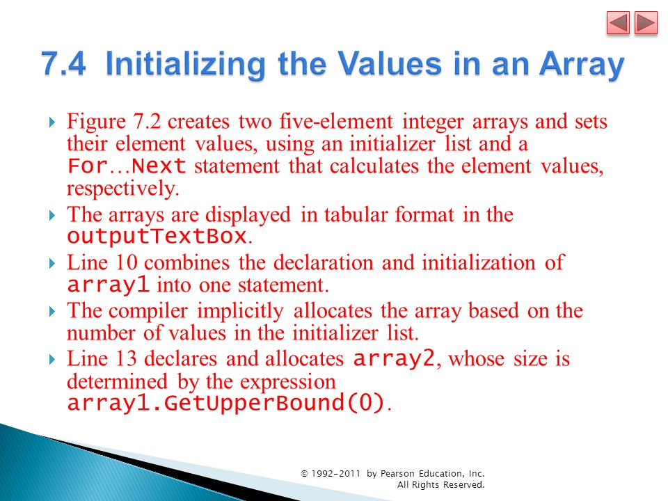 7.4 Initializing the Values in an Array