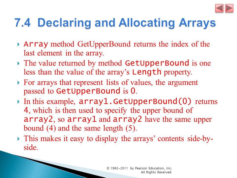 7.4 Declaring and Allocating Arrays