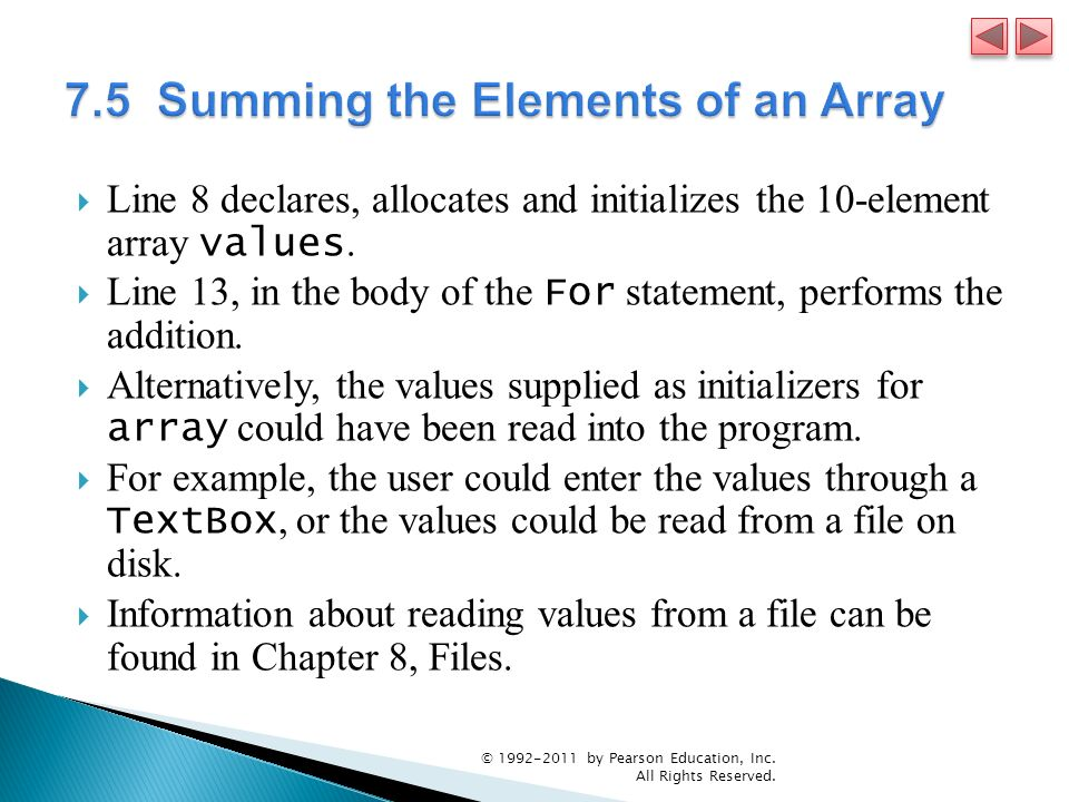 7.5 Summing the Elements of an Array