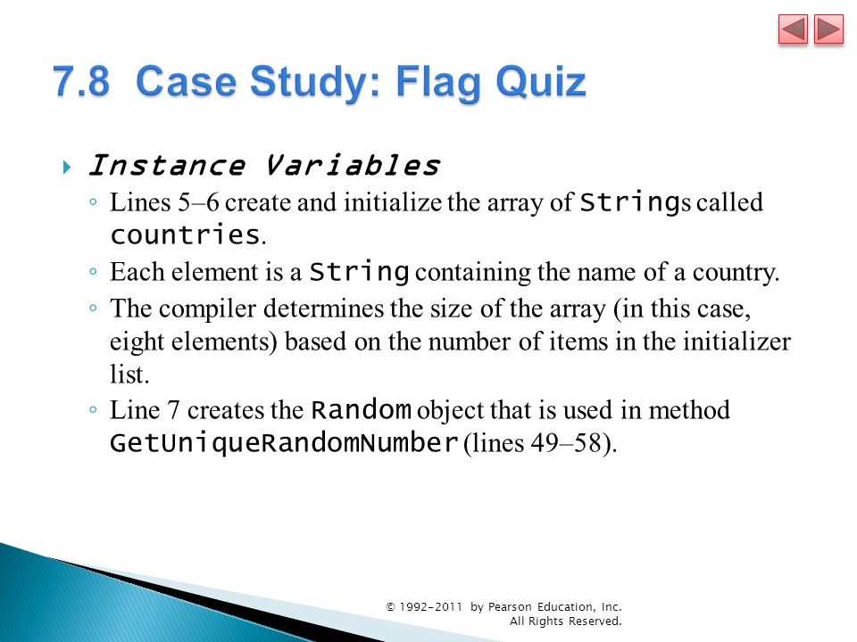 7.8 Case Study: Flag Quiz Instance Variables