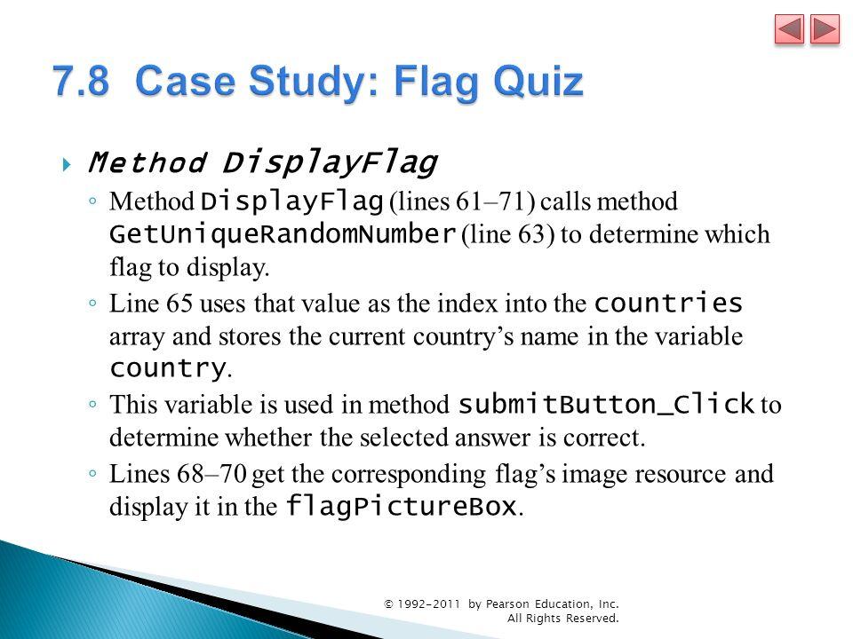 7.8 Case Study: Flag Quiz Method DisplayFlag