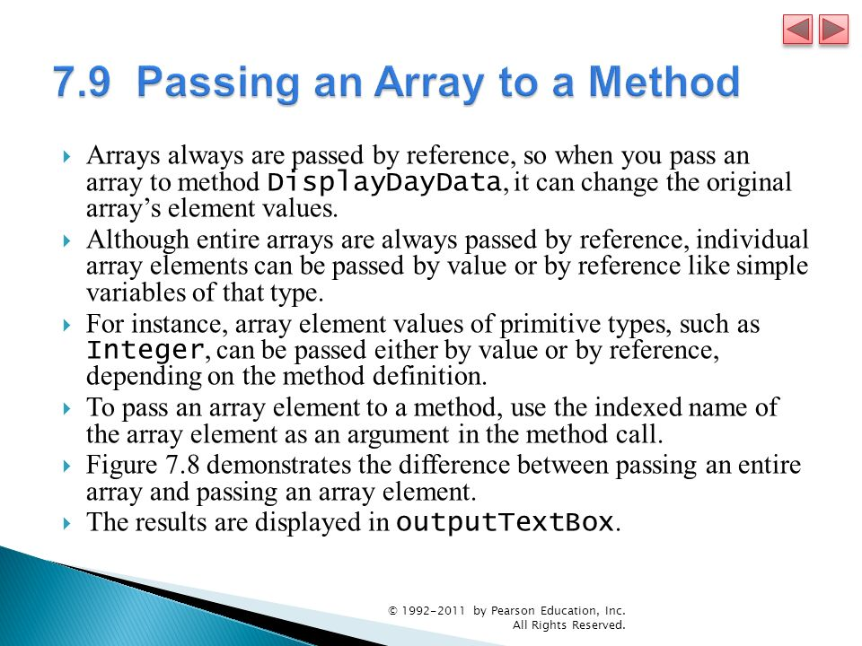 7.9 Passing an Array to a Method