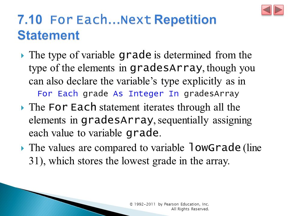 7.10 For Each…Next Repetition Statement