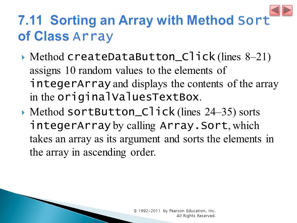 7.11 Sorting an Array with Method Sort of Class Array