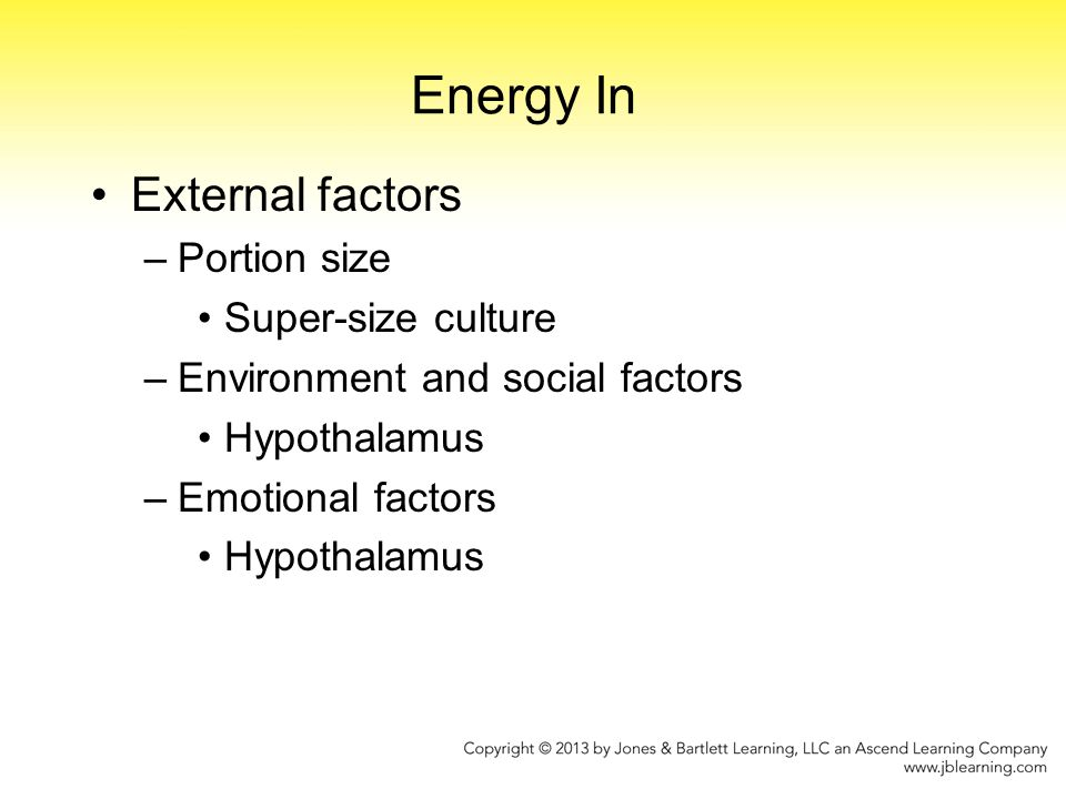 Energy In External factors Portion size Super-size culture