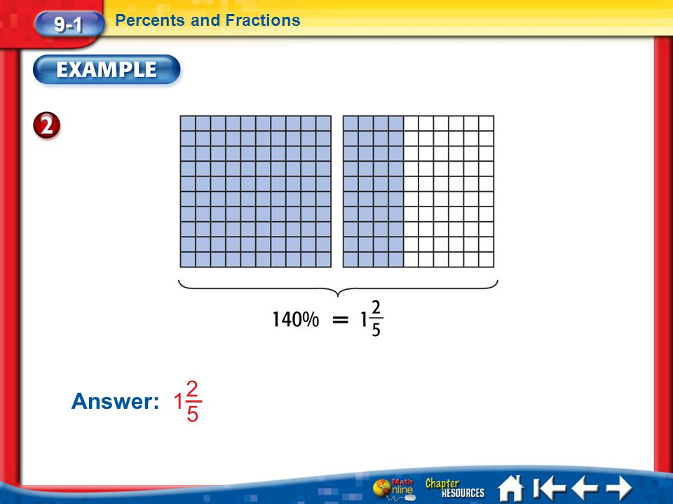 9-1 Percents and Fractions Answer: 1 2 5 Lesson 1 Ex2