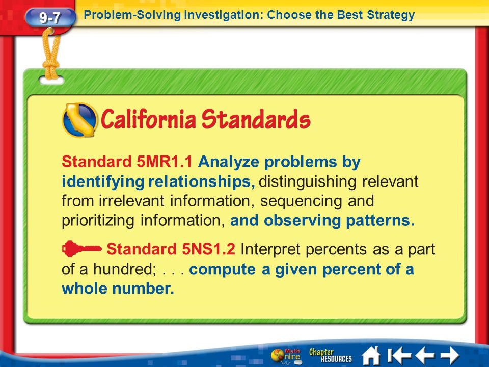 9-7 Problem-Solving Investigation: Choose the Best Strategy.