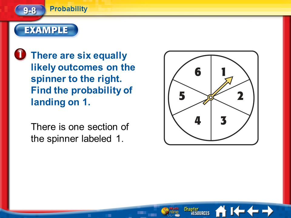 There is one section of the spinner labeled 1.