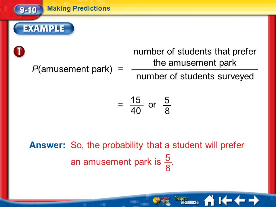 number of students that prefer the amusement park