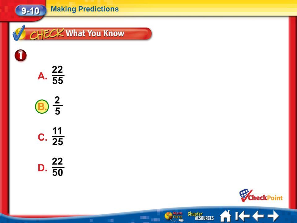 22 A. 55 2 B. 5 11 C. 25 22 D. 50 9-10 Making Predictions