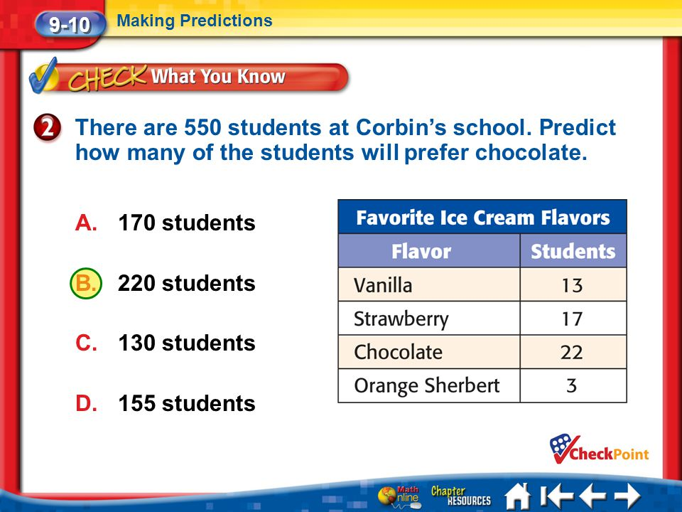 9-10 Making Predictions. There are 550 students at Corbin's school. Predict how many of the students will prefer chocolate.