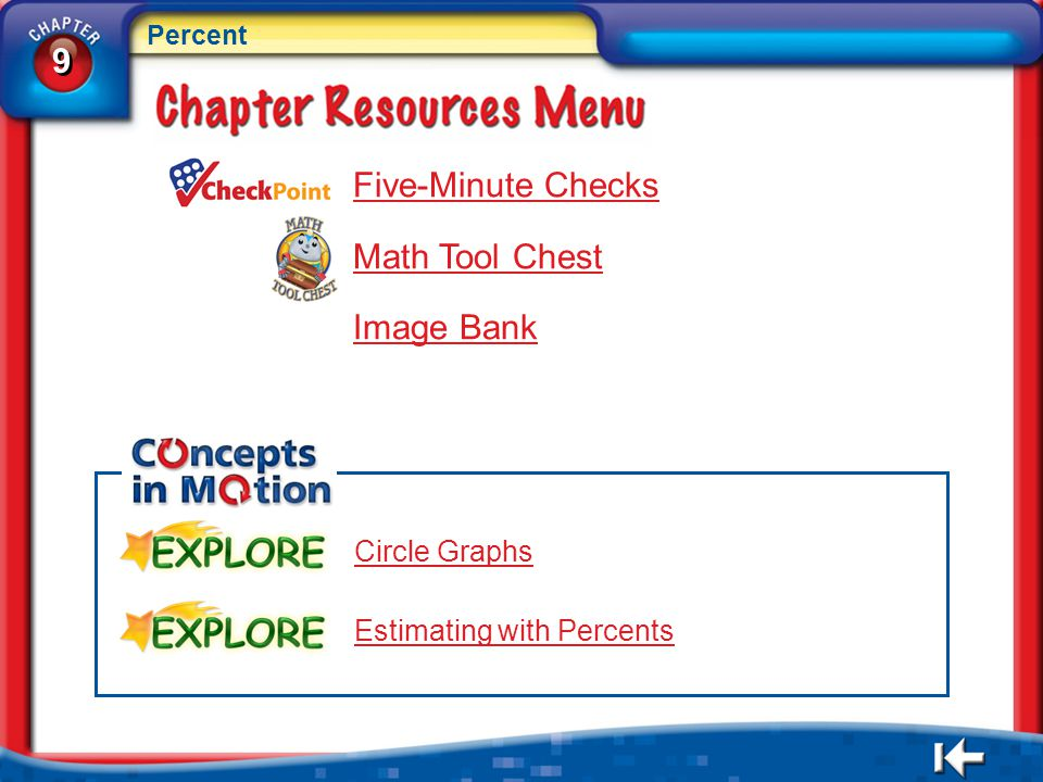 9 Five-Minute Checks Math Tool Chest Image Bank Circle Graphs