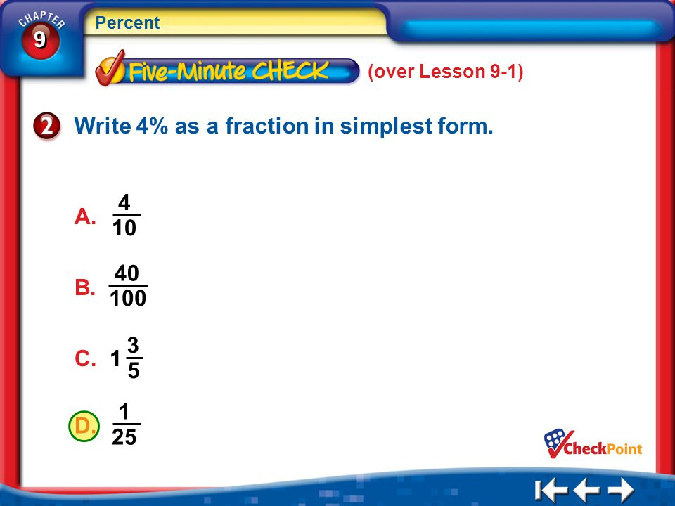Write 4% as a fraction in simplest form.