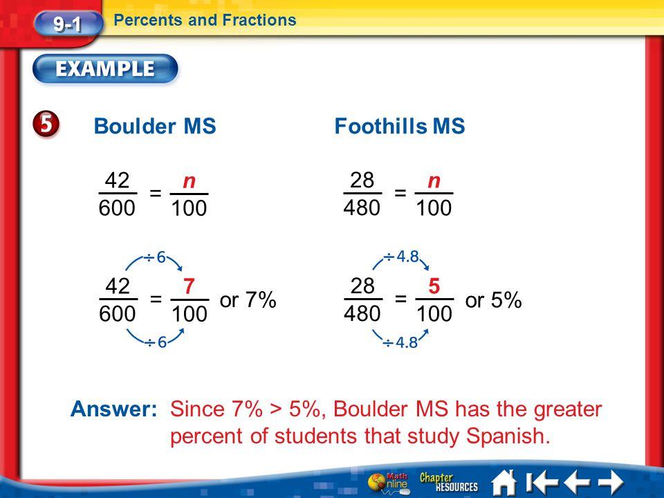 Boulder MS Foothills MS 42 n 28 n = = 600 100 480 100 42 600 7 28 480