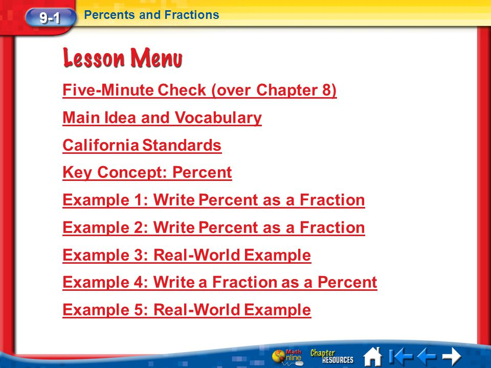 Five-Minute Check (over Chapter 8) Main Idea and Vocabulary