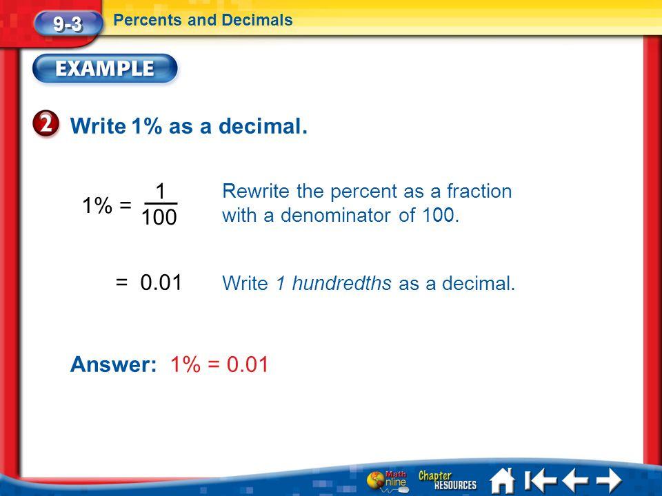 Write 1% as a decimal. 1 1% = 100 = 0.01 Answer: 1% = 0.01 9-3