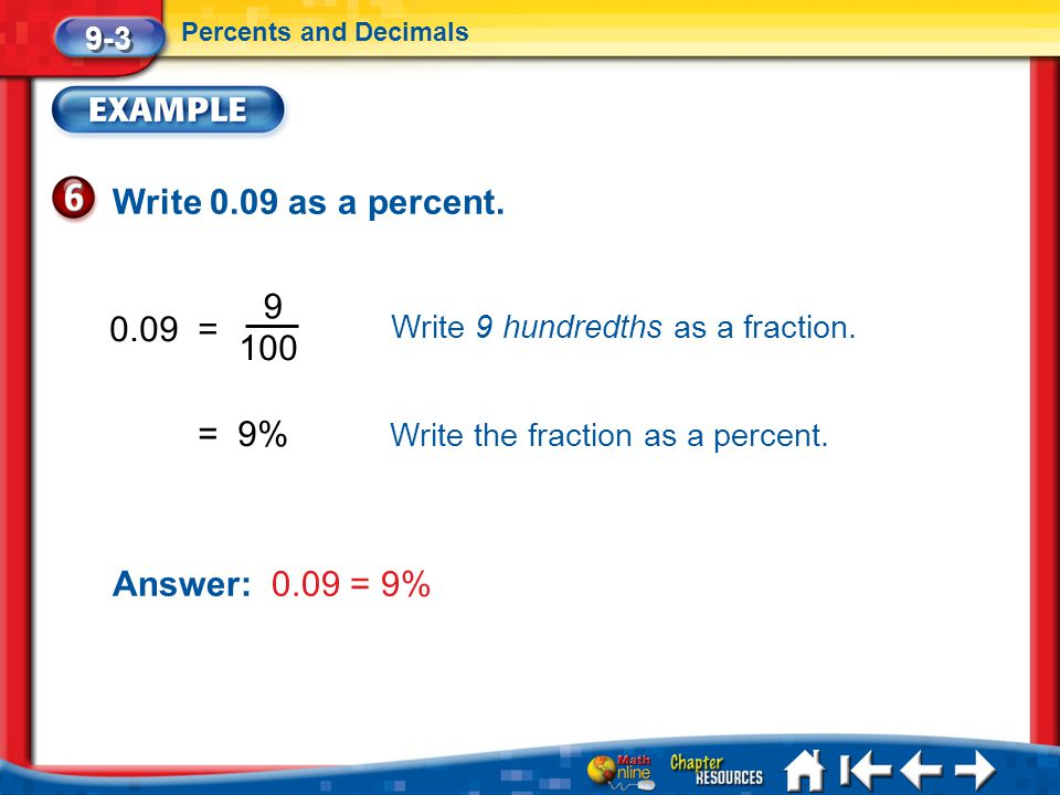 Write 0.09 as a percent. 9 0.09 = 100 = 9% Answer: 0.09 = 9% 9-3
