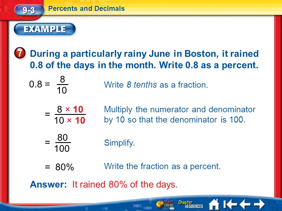 Answer: It rained 80% of the days.