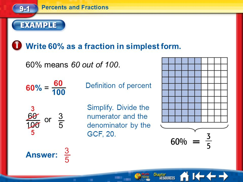 Write 60% as a fraction in simplest form.