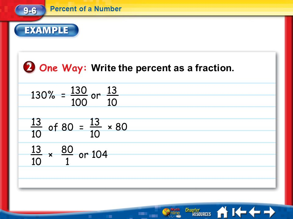 One Way: Write the percent as a fraction.
