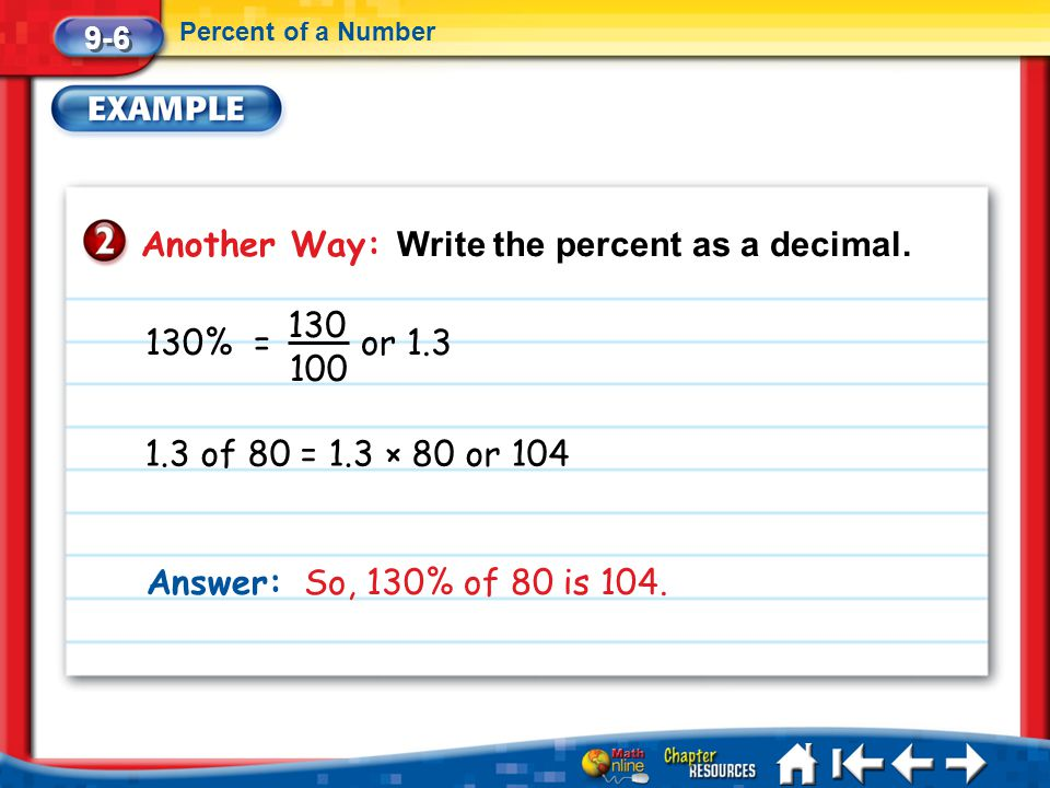 Another Way: Write the percent as a decimal.